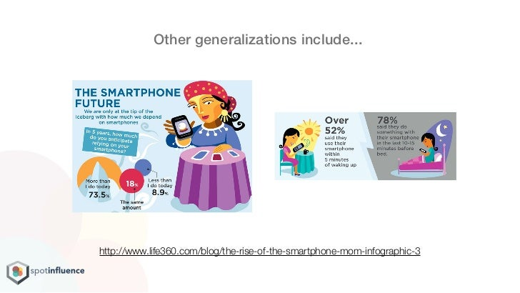 Other generalizations include...http://www.life360.com/blog/the-rise-of-the-smartphone-mom-infographic-3