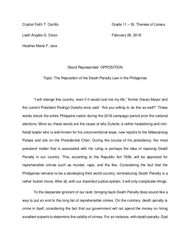 Position paper about death penalty
