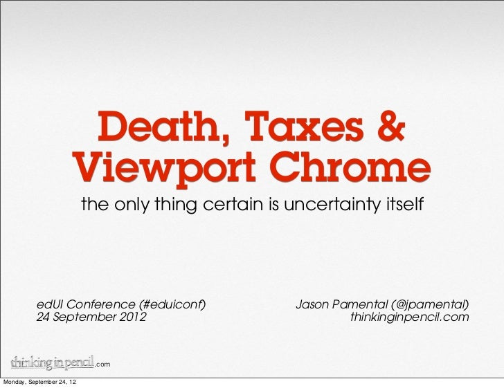 Death, Taxes &                      Viewport Chrome                           the only thing certain is uncertainty itself...