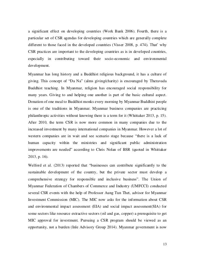 thesis on csr Within this analysis, this study places particular emphasis on the role of mnc and the state in the processes of adoption of csr practices by local companies in a developing country finally, this thesis contributes with practical implications for mangers of local companies and managers of mncs' subsidiaries in developing.
