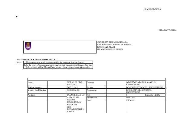 HEA/RA/PP-2000-6 HEA/RA/PP-2000-6 UNIVERSITI TEKNOLOGI MARA BAHAGIAN HAL EHWAL AKADEMIK 40450 SHAH ALAM SELANGOR DARUL EHS...