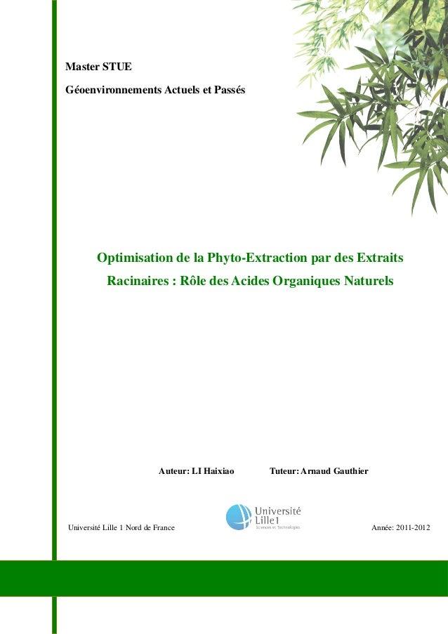 Master STUE Géoenvironnements Actuels et Passés Université Lille 1 Nord de France Année: 2011-2012 Optimisation de la Phyt...