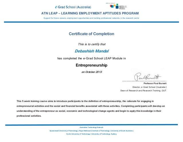entrepreneurship certificate