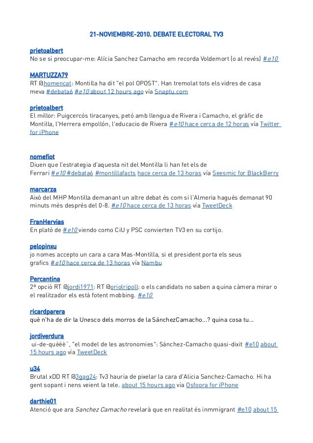 21-NOVIEMBRE-2010. DEBATE ELECTORAL TV3prietoalbertNo se si preocupar-me: Alícia Sanchez Camacho em recorda Voldemort (o a...