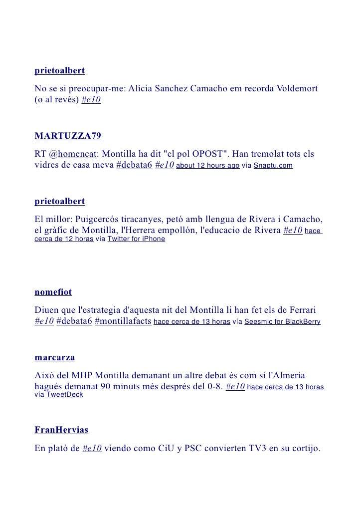 Alter-Debate en twiter, Noviembre 2010: Autonómicas Catalanas