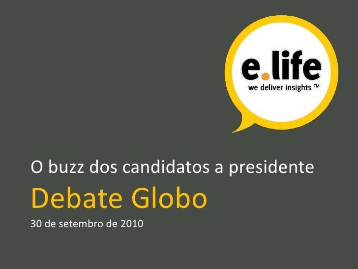 O buzz dos candidatos a presidente<br />Debate Globo30 de setembro de 2010<br />