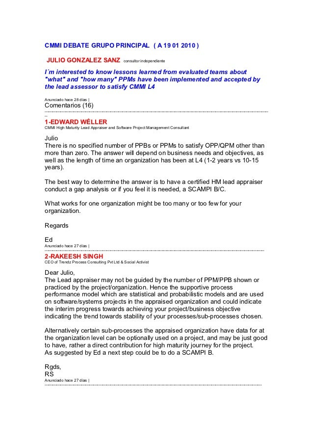 CMMI DEBATE GRUPO PRINCIPAL ( A 19 01 2010 ) JULIO GONZALEZ SANZ                                       consultor independi...