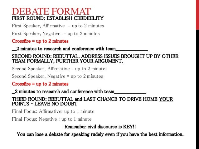 Debate notes and format w rubric for First speaker debate template