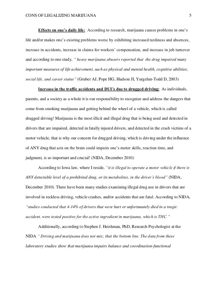 Argumentative research paper on legalizing marijuana