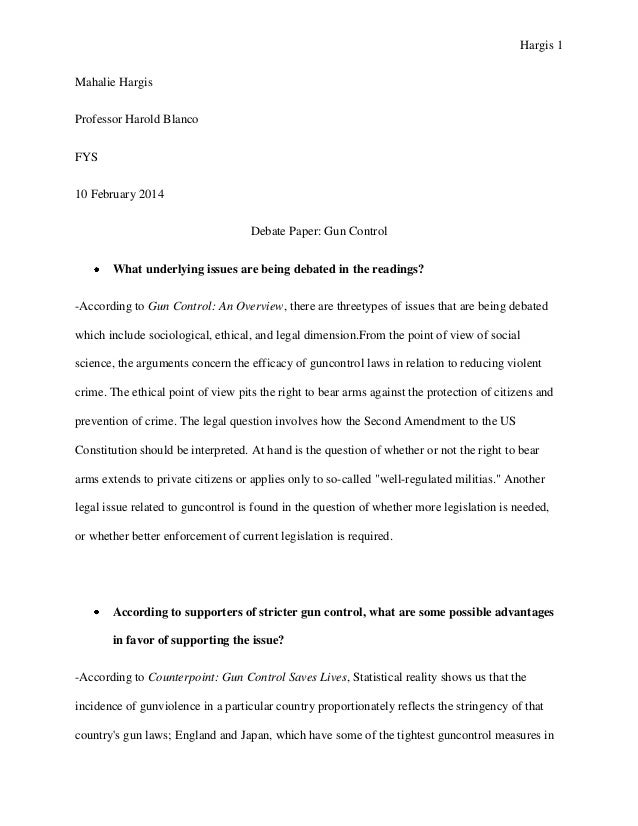 An Essay On English Language Hargis  Mahalie Hargis Professor Harold Blanco Fys  February  Debate  Paper Gun Control  The Kite Runner Essay Thesis also Sample Of Research Essay Paper Debate Paper Gun Control Persuasive Essay Topics High School