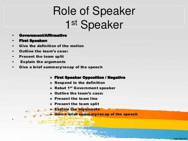 Debate seminar for First speaker debate template