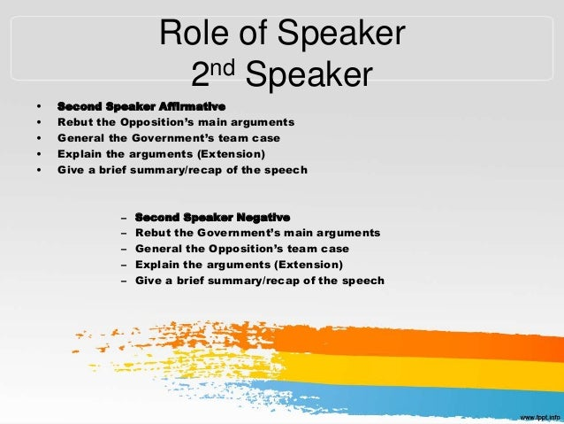 sample debate speech 3rd speaker In this speech, the speaker speaks either for or against the issue being discussed sample debates: 1 on the national debate forum debate writingp65.