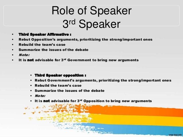 debating 2nd speaker