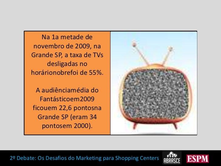 Na 1a metade de novembro de 2009, na Grande SP, a taxa de TVs desligadas no horárionobrefoi de 55%.<br />A audiênciamédia ...
