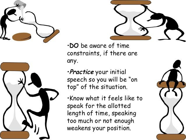 """•DO be aware of time constraints, if there are any. •Practice your initial speech so you will be """"on top"""" of the situation..."""