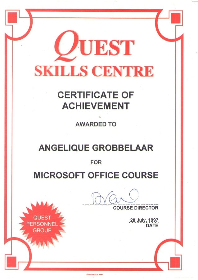 Quest Skills Centre - Certificate of Achievement - Microsoft Office -…
