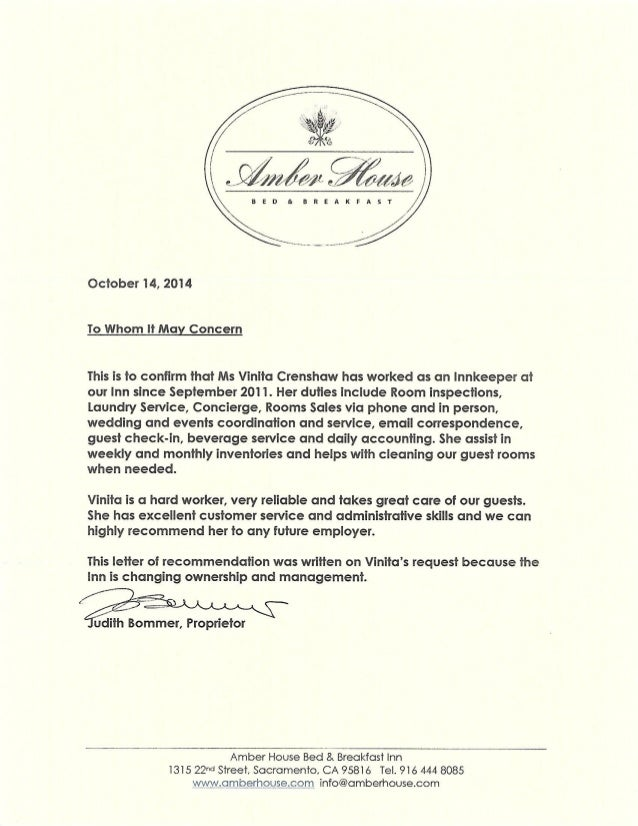 amber house reference letter