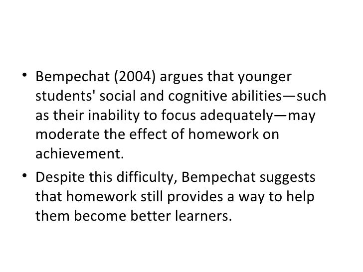 <ul><li>Bempechat (2004) argues that younger students' social and cognitive abilities—such as their inability to focus ade...