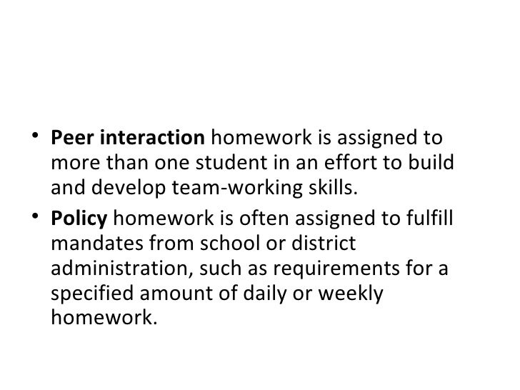 <ul><li>Peer interaction  homework is assigned to more than one student in an effort to build and develop team-working ski...