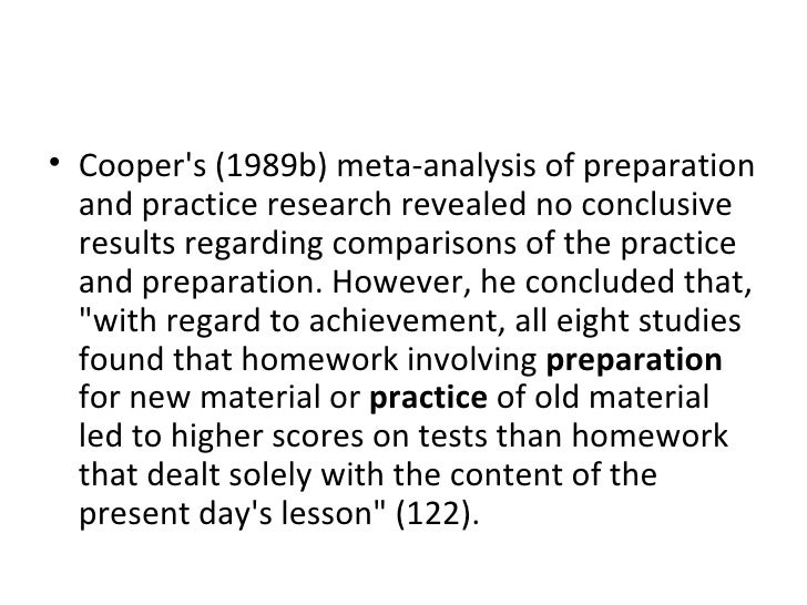 <ul><li>Cooper's (1989b) meta-analysis of preparation and practice research revealed no conclusive results regarding compa...