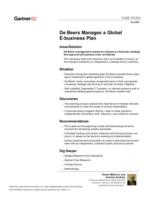case studies format template - de beers gartner e business case study