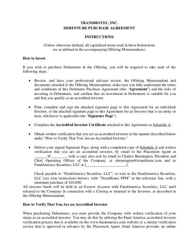Transbiotec Debenture Purchase Agreement