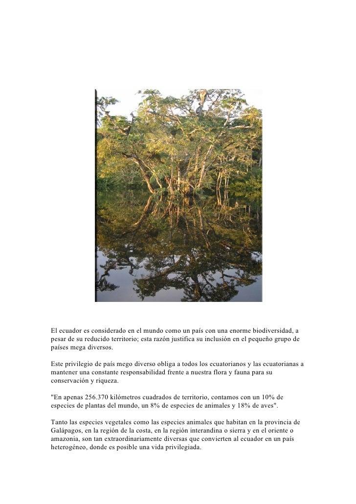 El ecuador es considerado en el mundo como un país con una enorme biodiversidad, apesar de su reducido territorio; esta ra...