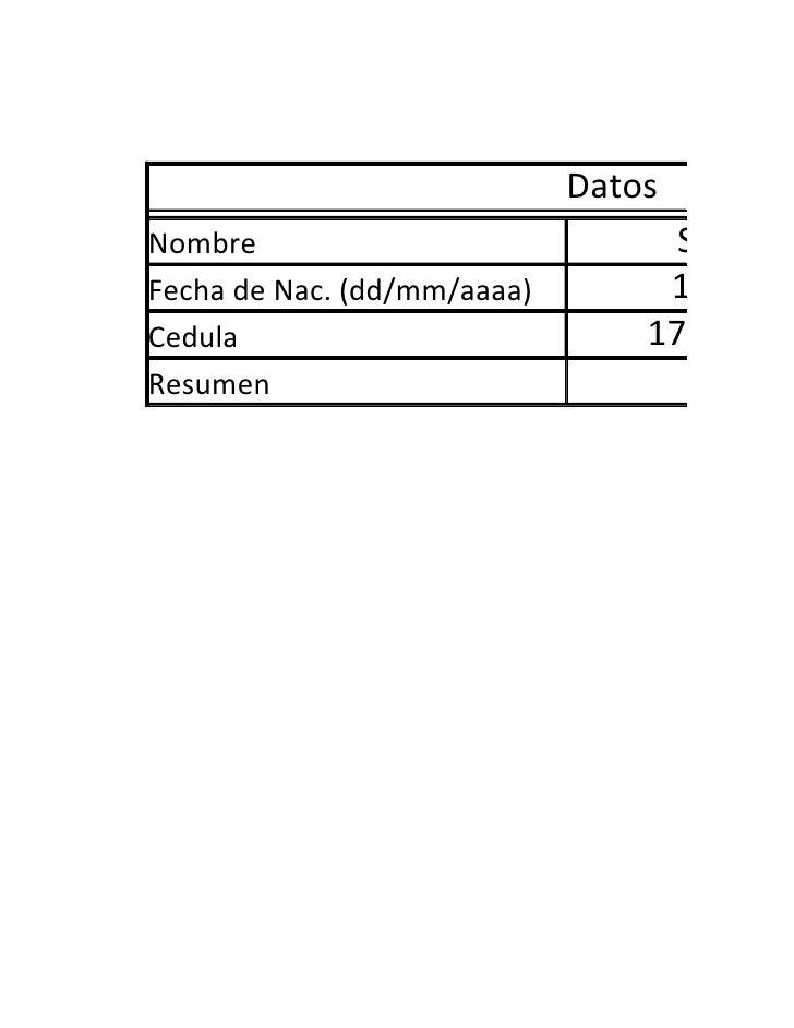Datos Nombre                             Santiago Fecha de Nac. (dd/mm/aaaa)        1/3/197 Cedula                        ...