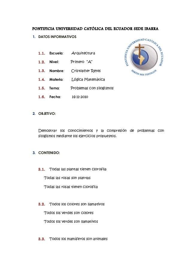 PONTIFICIA UNIVERSIDAD CATÓLICA DEL ECUADOR SEDE IBARRA 1. DATOS INFORMATIVOS 1.1. Escuela: Arquitectura 1.2. Nivel: Prime...