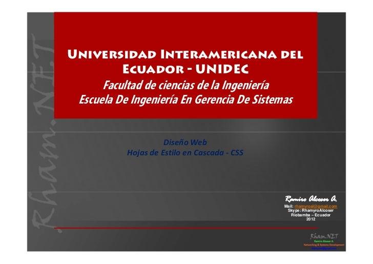 Universidad Interamericana del       Ecuador - UNIDEC      Facultad de ciencias de la Ingeniería Escuela De Ingeniería En ...