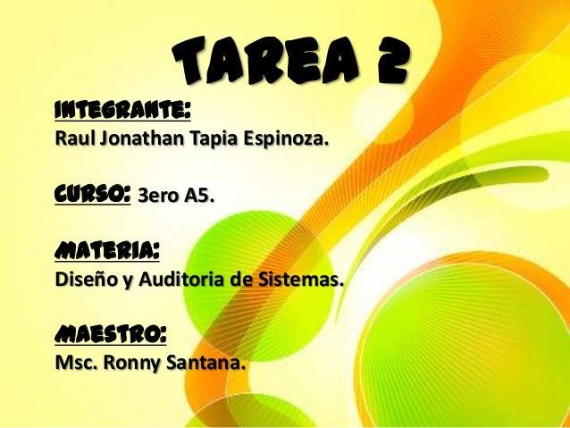 Tarea 2Integrante:Raul Jonathan Tapia Espinoza.Curso: 3ero A5.Materia:Diseño y Auditoria de Sistemas.Maestro:Msc. Ronny Sa...