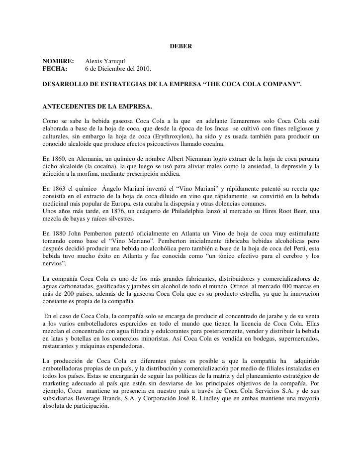 """DEBER<br />NOMBRE:Alexis Yaruquí.<br />FECHA:6 de Diciembre del 2010.<br />DESARROLLO DE ESTRATEGIAS DE LA EMPRESA """"THE CO..."""