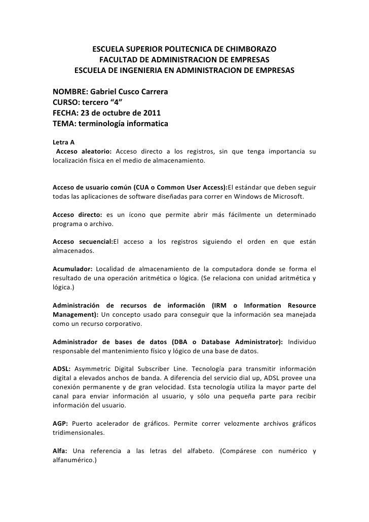 ESCUELA SUPERIOR POLITECNICA DE CHIMBORAZO             FACULTAD DE ADMINISTRACION DE EMPRESAS       ESCUELA DE INGENIERIA ...
