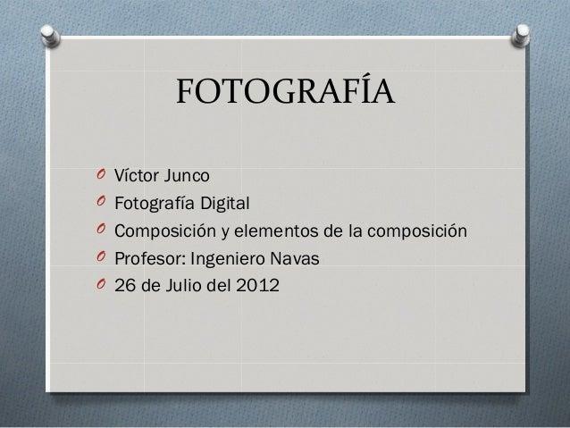 FOTOGRAFÍA O Víctor Junco O Fotografía Digital O Composición y elementos de la composición O Profesor: Ingeniero Navas O 2...