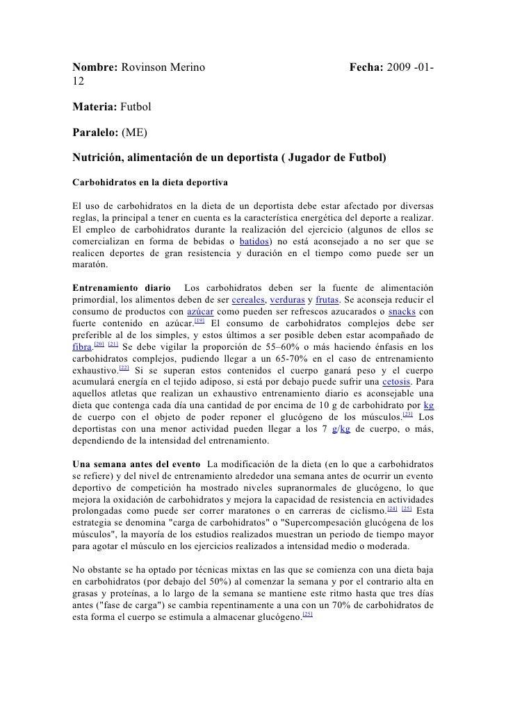 Nombre: Rovinson Merino                                                Fecha: 2009 -01- 12  Materia: Futbol  Paralelo: (ME...