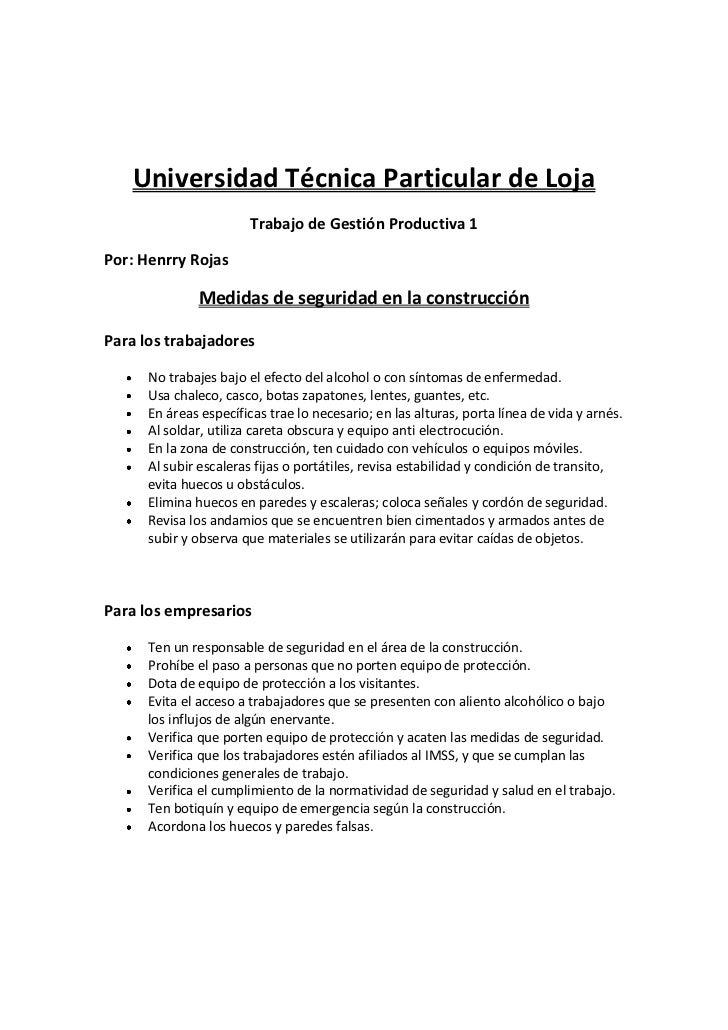 Universidad Técnica Particular de Loja<br />Trabajo de Gestión Productiva 1 <br />Por: Henrry Rojas<br />Medidas de seguri...