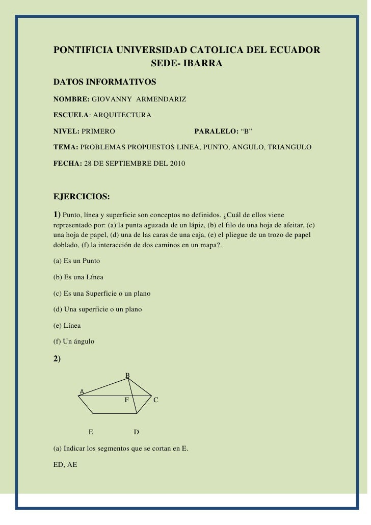 PONTIFICIA UNIVERSIDAD CATOLICA DEL ECUADOR                 SEDE- IBARRA DATOS INFORMATIVOS NOMBRE: GIOVANNY ARMENDARIZ  E...