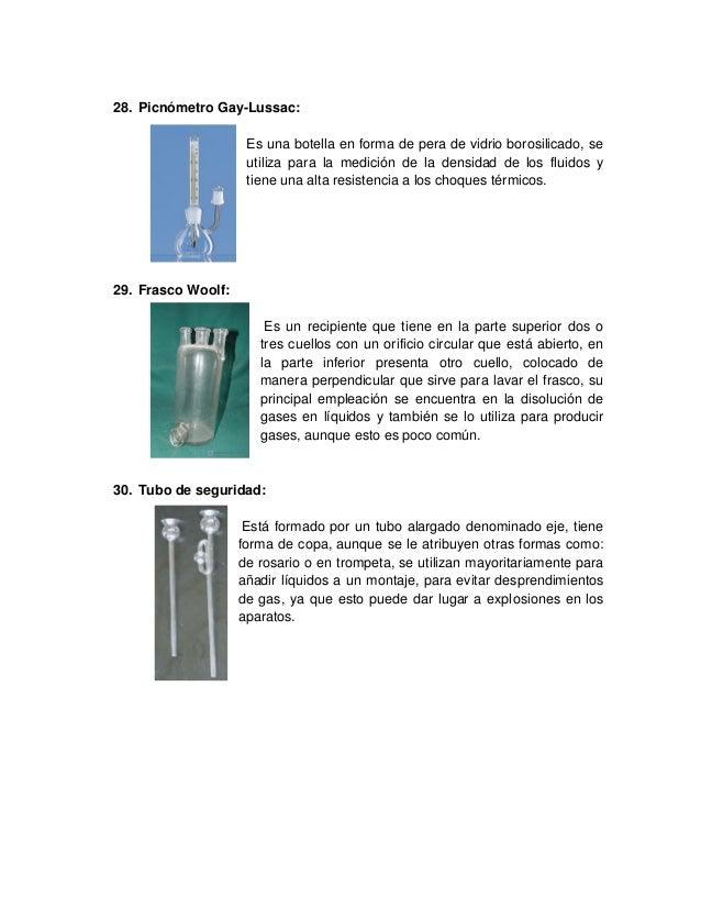 28. Picnómetro Gay-Lussac: Es una botella en forma de pera de vidrio borosilicado, se utiliza para la medición de la densi...