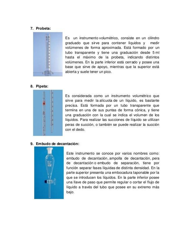 7. Probeta: Es un instrumento volumétrico, consiste en un cilindro graduado que sirve para contener líquidos y medir volúm...