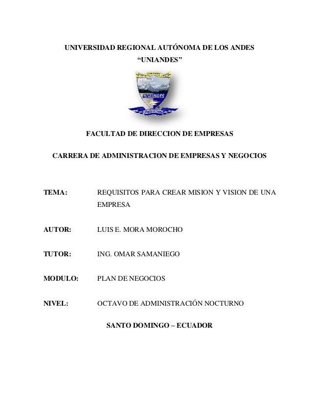 """UNIVERSIDAD REGIONAL AUTÓNOMA DE LOS ANDES                      """"UNIANDES""""          FACULTAD DE DIRECCION DE EMPRESAS  CAR..."""