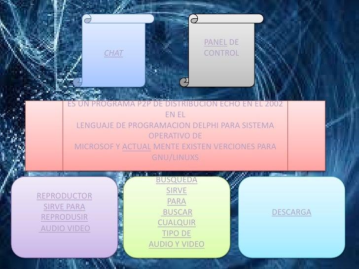 PANEL DE               CHAT                  CONTROL      ES UN PROGRAMA P2P DE DISTRIBUCION ECHO EN EL 2002              ...