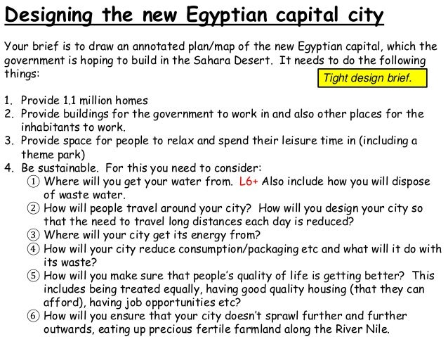 Designing the new Egyptian capital city Your brief is to draw an annotated plan/map of the new Egyptian capital, which the...