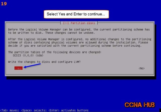 '15  I Select Yes and Enterto continue. .. I  [! !] Partition disks  Before the Logical volume Manager can be configured, ...