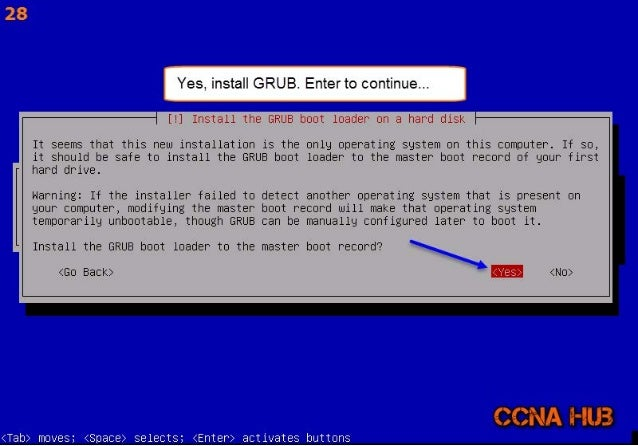 lha h  i Yes.  install GRUB.  Enterto continue. ..  L q  [! ] Install the GRUB boot loader on a hard disk  It seems that t...