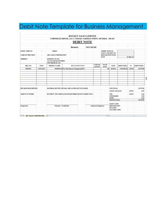 Debit note template excel format thecheapjerseys Image collections
