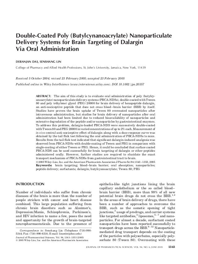 Double-Coated Poly (Butylcynanoacrylate) Nanoparticulate Delivery Systems for Brain Targeting of Dalargin Via Oral Adminis...