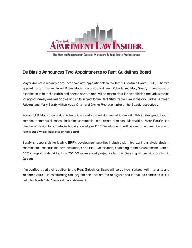 De Blasio Announces Two Appointments to Rent Guidelines Board Mayor de Blasio recently announced two new appointments to t...