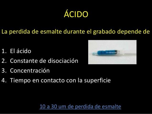 ÁCIDOLa perdida de esmalte durante el grabado depende de1. El ácido2. Constante de disociación3. Concentración4. Tiempo en...