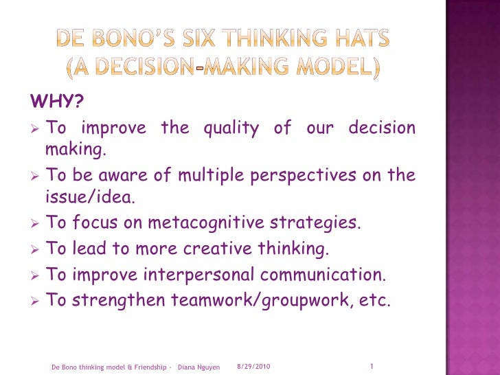 De Bono's Six Thinking Hats(A Decision-making Model)<br />WHY?<br /><ul><li>To improve the quality of our decision making.