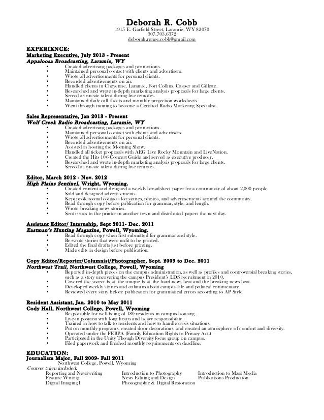 Deborah Cobb Resume and References